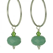 Amazonite and Crystal Drop Hoop Earrings