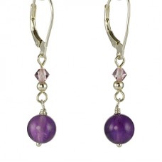 Amethyst and Swarovski Crystal Earrings