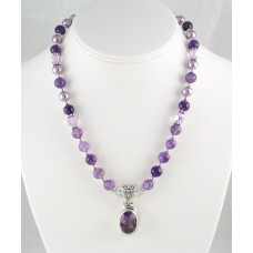 Amethyst and Swarovski Crystal Necklace