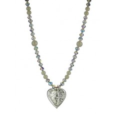 Crystal and White Quartz Necklace with Lampwork Heart Pendant