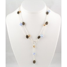 "Double-Stranded Smoky Quartz and Swarovski Crystal ""Y"" Necklace"