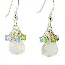 Flat Pear Swarovski Crystal Earrings