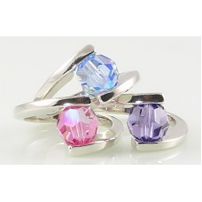 Interchangeable Tension Set Bead Ring (with one 8mm round crystal, pearl or stone)