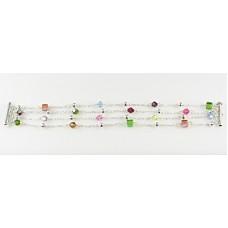Multi-Stranded Crystal and Rondelle Bracelet