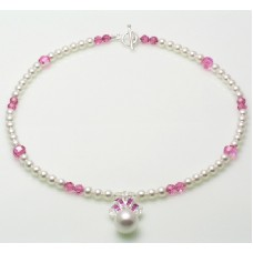 Swarovski Pearl and Sterling Silver CZ Pendant Necklace