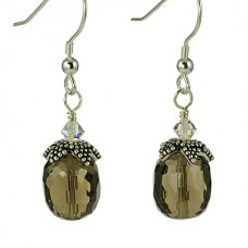 Smoky Quartz Pineapple Earrings