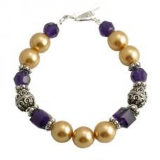 Swarovski Crystal, Pearl and Bali Ball Bracelet