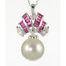 White Pearl and Fuscia CZ Pendant